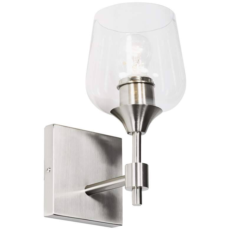 "Varaluz Margaux 10"" High Satin Nickel Wall Sconce more views"