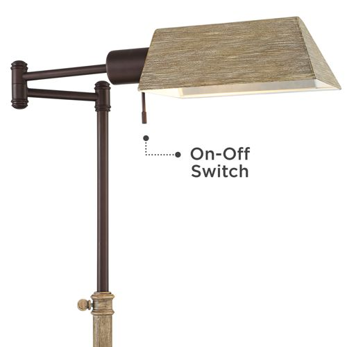 Jenson Bronze and Faux Wood Pharmacy Floor Lamp