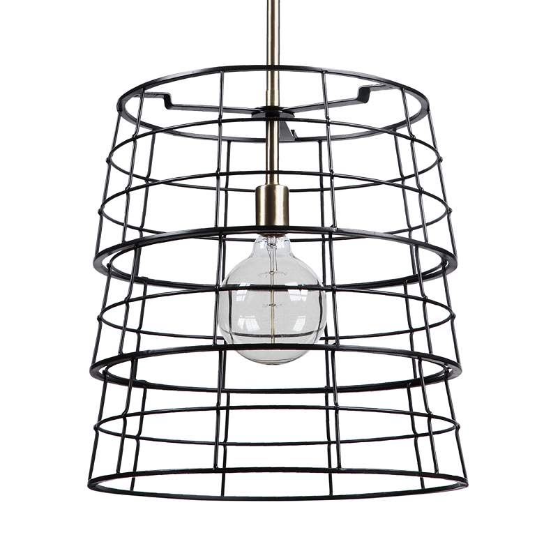 "Grader 16"" Wide Bronze and Brass Open Basket Pendant Light more views"