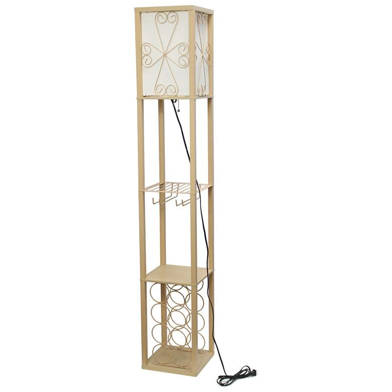 Simple Designs Tan Etagere Floor Lamp with Storage and Shelf more views