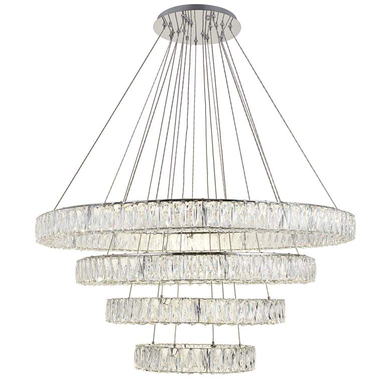 "Monroe 42"" Wide Chrome and Crystal 4-Tier LED Chandelier more views"