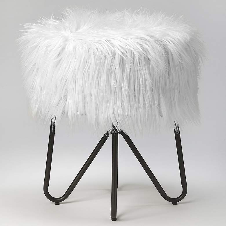 Butler Ezra White Faux Fur Round Accent Stool more views