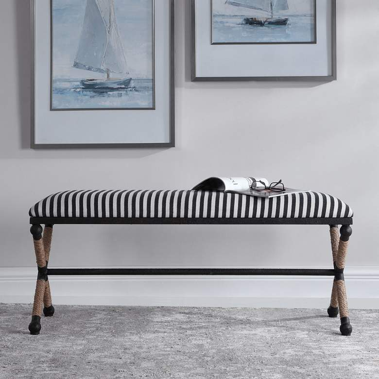 Uttermost Braddock Blue and White Sailor-Striped Bench more views