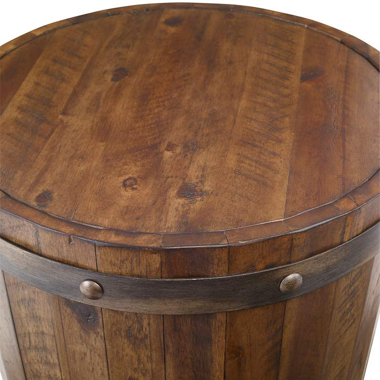 "Uttermost Ceylon 19""W Weathered Walnut Barrel Accent Table more views"