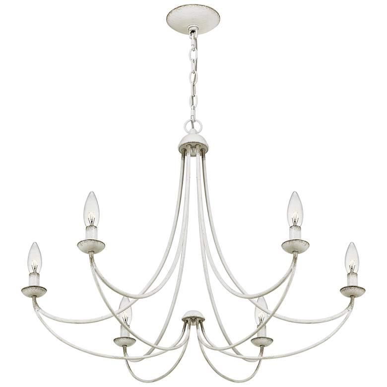 "Quoizel Mirren 28"" Wide Antique White 6-Light Chandelier more views"