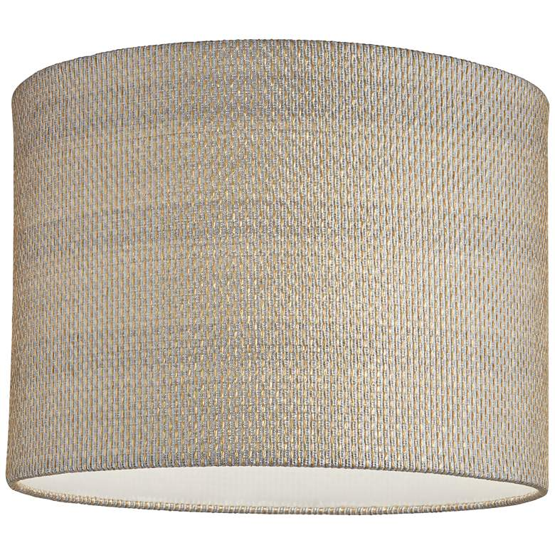 Gray and Gold Plastic Weave Drum Shade 15x15x11 (Spider) more views
