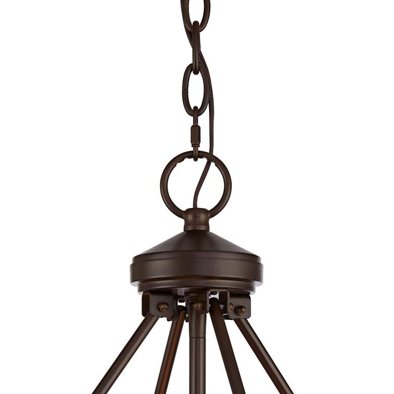 "Lorelai 24 3/4"" Bronze and Wood Finish Drum Pendant Light more views"