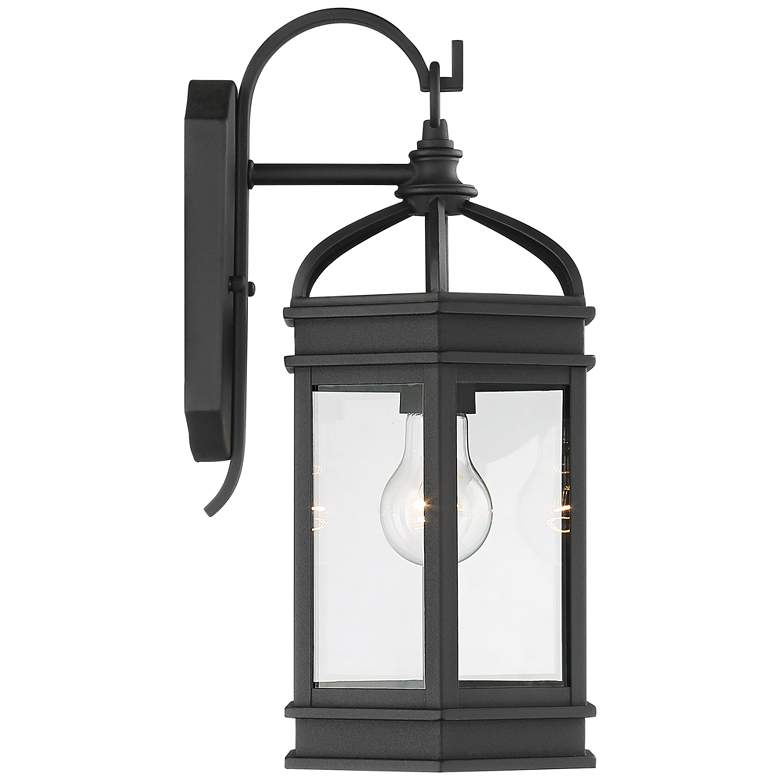 "Nelli 15 3/4""H Textured Black Lantern Outdoor Wall Light more views"