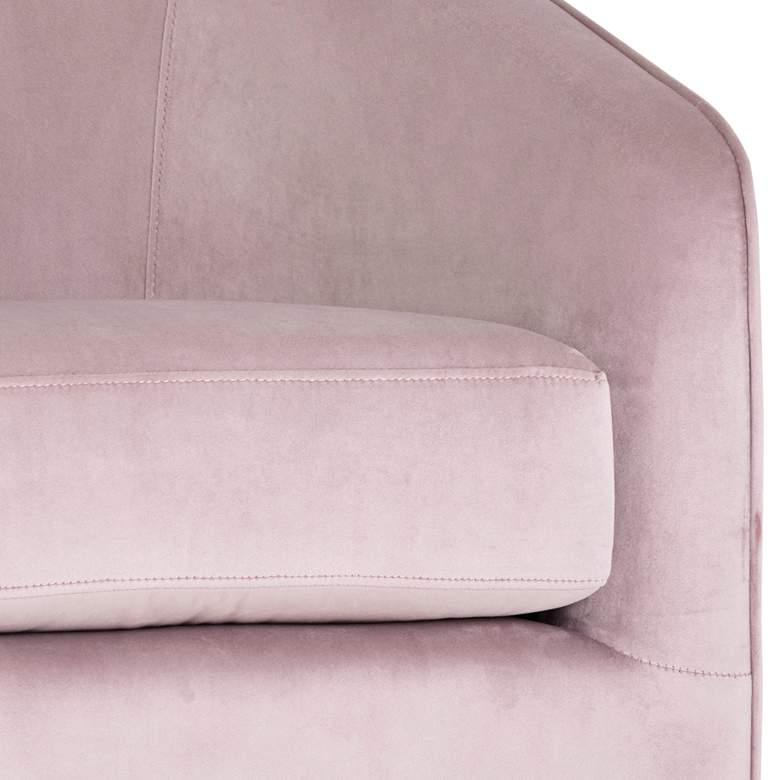 Hazel Blush Sky and Antique Brass Swivel Armchair more views