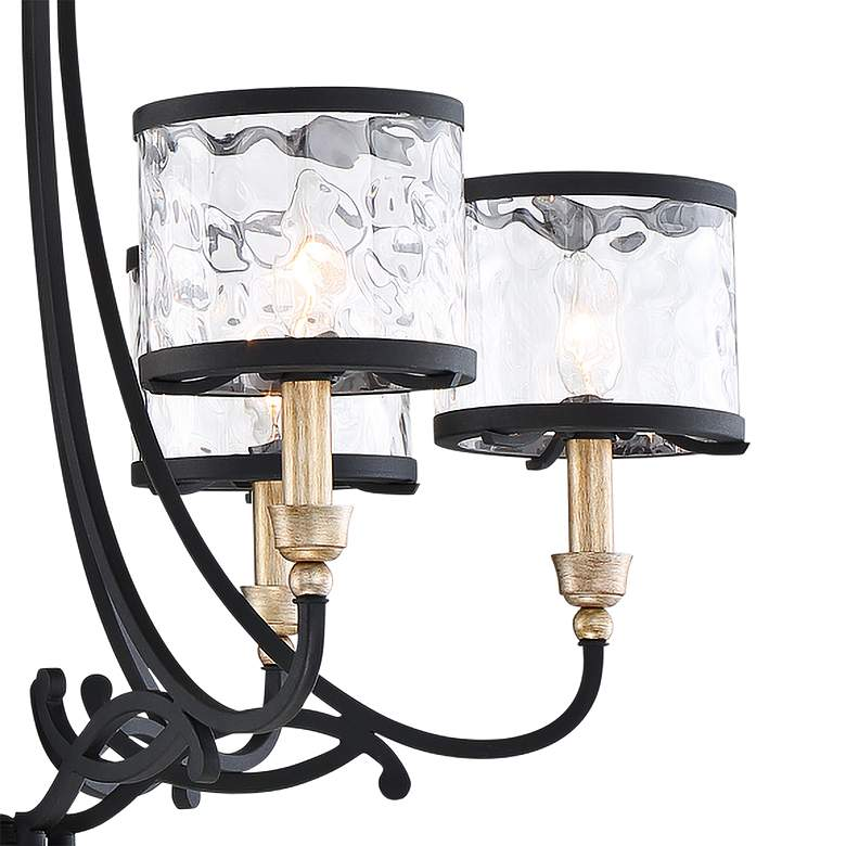 "Wyndmere 28 1/4"" Wide Sand Black and Gold 6-Light Chandelier more views"