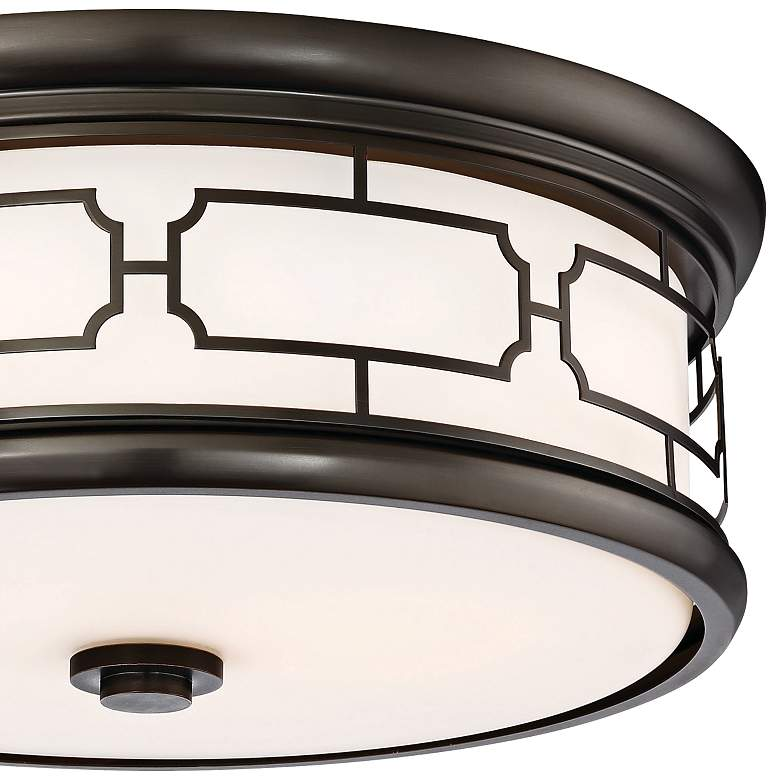 "Flush Mount 16""W Harvard Court Bronze Drum LED Ceiling Light more views"