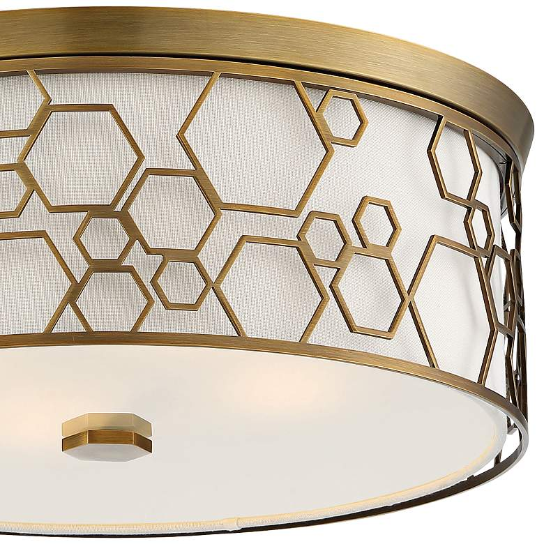 "Flush Mount 17""W Polished Satin Brass Drum LED Ceiling Light more views"
