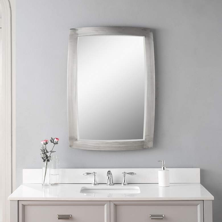 "Haskill Brushed Nickel 24"" x 34 1/4"" Vanity Wall Mirror more views"
