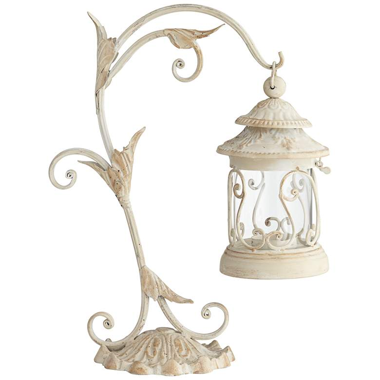 "Leaf and Vine 17 1/2""H White Pillar Candle Holder Lantern more views"