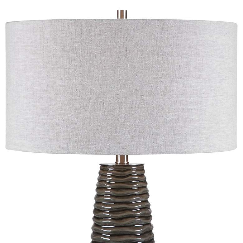 Uttermost Achilleus Charcoal Gray Ribbed Ceramic Table Lamp more views