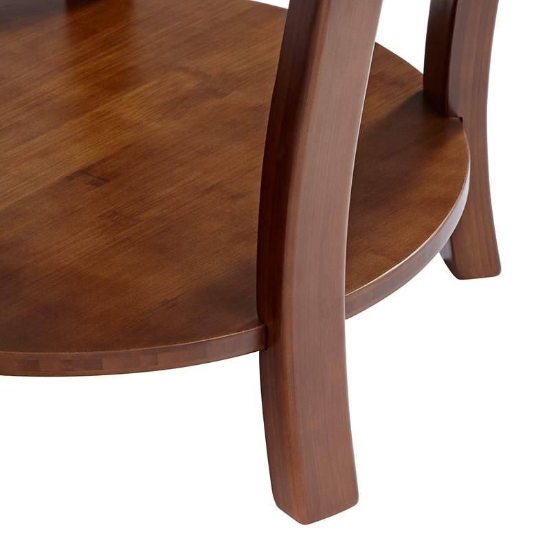 "Pendalton 23 3/4"" Wide Dark Walnut Large Bamboo Accent Table more views"