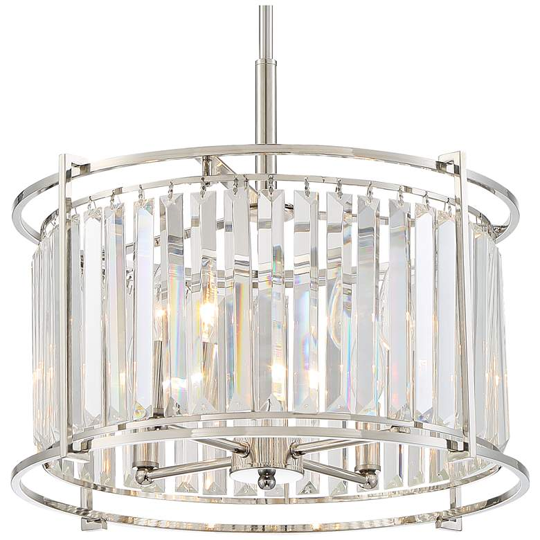 "Audrey 18"" Wide Polished Nickel and Crystal Pendant Light more views"