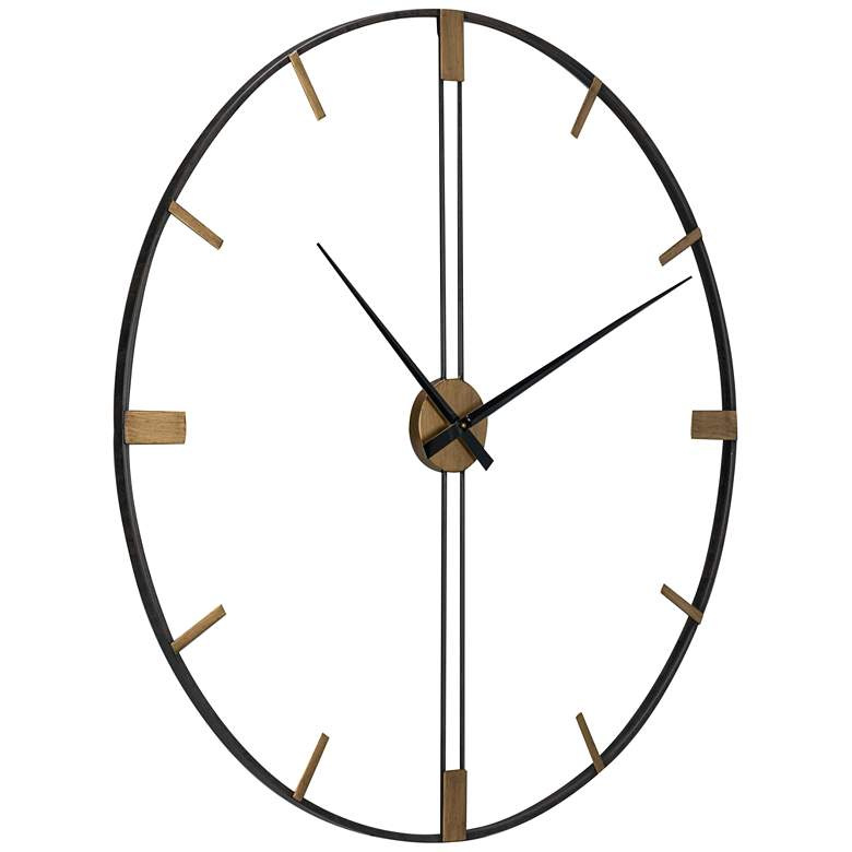 "Camden 41"" Wide Black and Gold Modern Open Wall Clock more views"