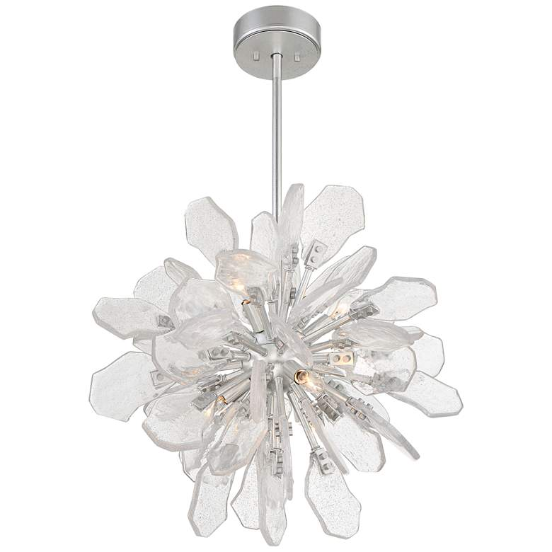 "Boris 21 3/4"" Wide Silver Leaf 6-Light Sputnik Pendant Light more views"