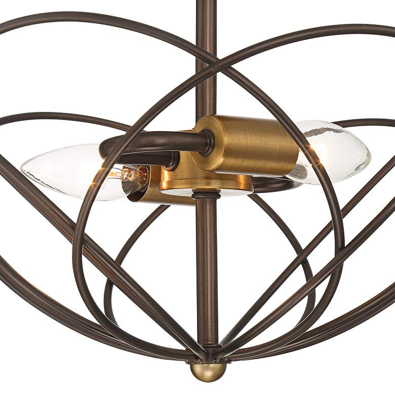 "Hexley 13"" Wide Bronze and Warm Brass Wired Ceiling Light more views"