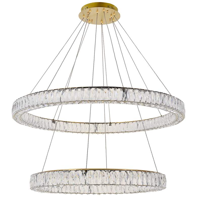 "Monroe 42"" Wide Gold and Crystal 2-Tier LED Chandelier more views"