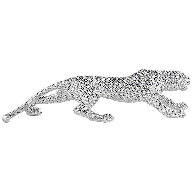 "Prowling 23 1/2"" Wide Electroplated Silver Leopard Sculpture more views"