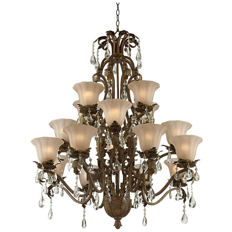 "Iron Leaf 39"" Wide Roman Bronze and Crystal Chandelier more views"