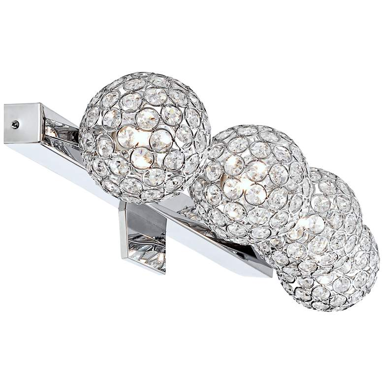 "Tiara Crystal Sphere 28"" Wide 4-Light Chrome Bath Light more views"