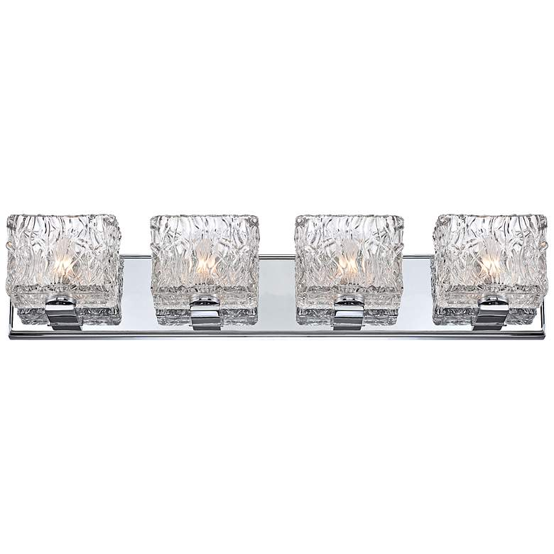 "Lavonia Chrome 27 1/4""W 4-Light Molten Glass Vanity Light more views"
