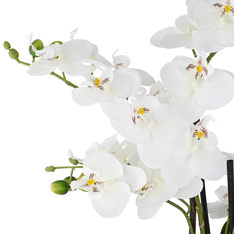 "White Phalaenopsis 23""H Faux Orchid in Silver Ceramic Pot more views"