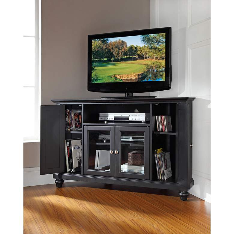 "Cambridge 48"" Wide 4-Door Black Finish Corner TV Stand more views"