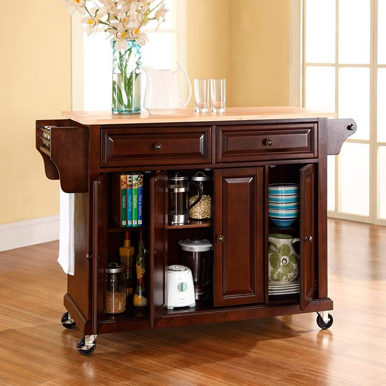 "Dover 52"" Cutting Board Top Mahogany Kitchen Island Cart more views"