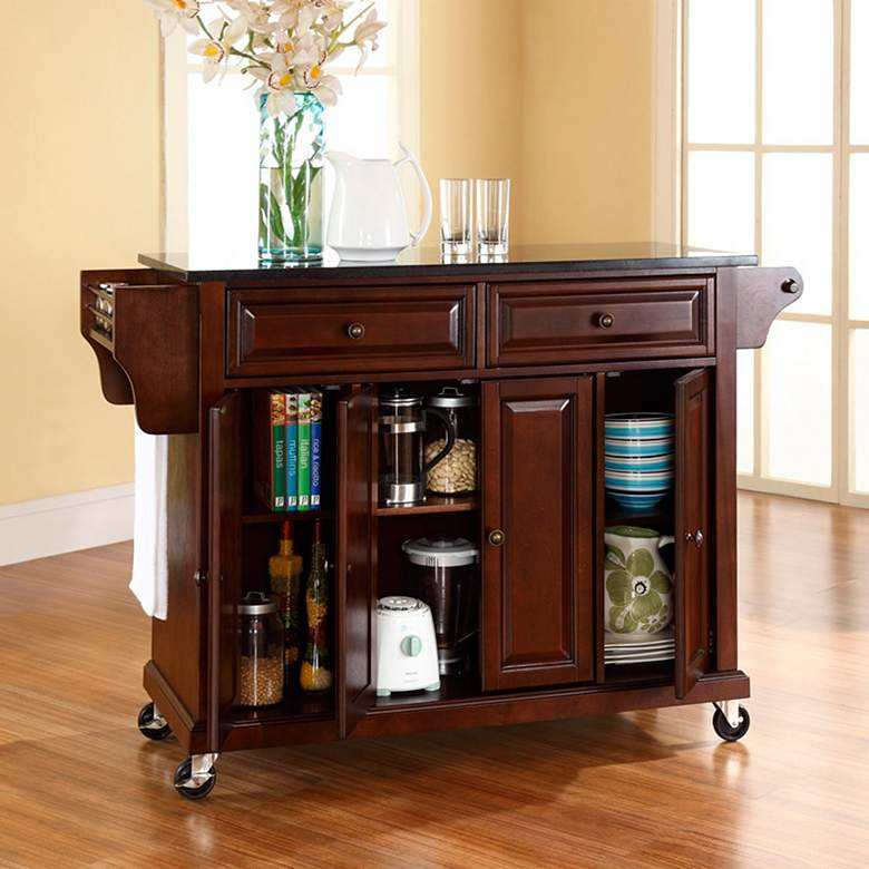 "Dover 52"" Wide Granite Top Mahogany Kitchen Island Cart more views"