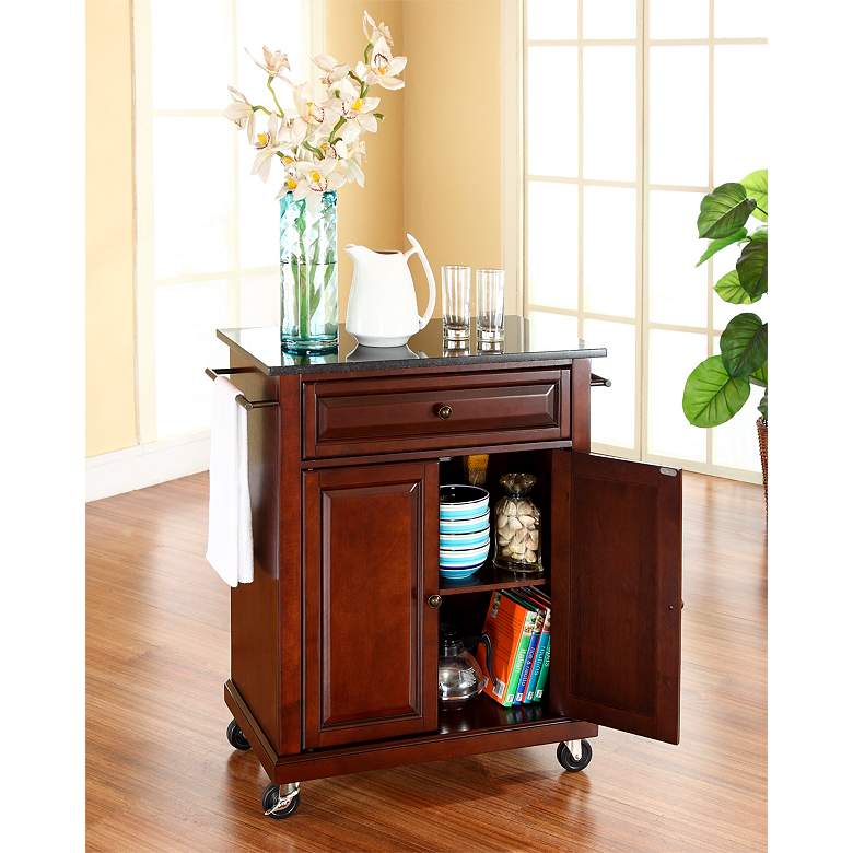 "York 28 1/4"" Wide Granite Top Mahogany Kitchen Island Cart more views"