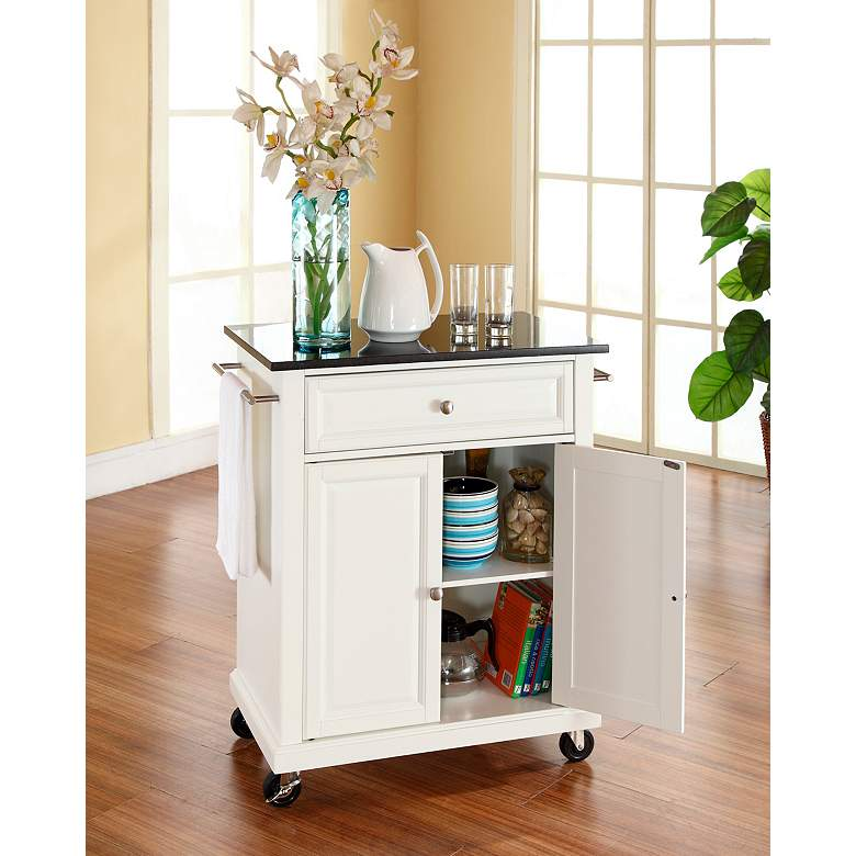 white kitchen island with granite top york 28 1 4 quot wide granite top white kitchen island cart 7h024 ls plus 6382