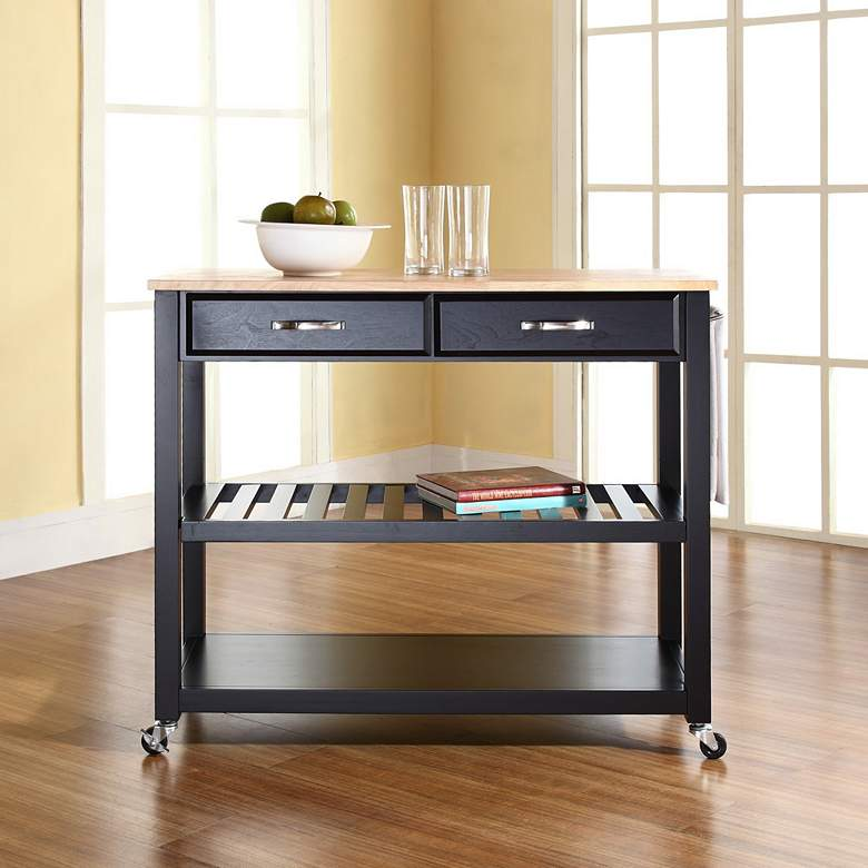 "Sheffield 42"" Wide Black Finish Kitchen Island Cart more views"