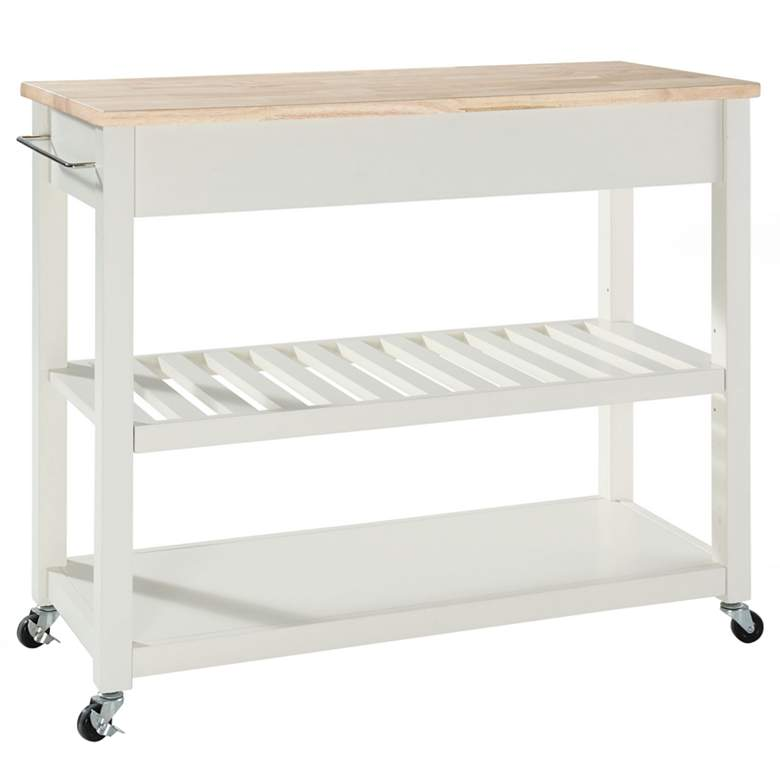 "Sheffield 42"" Wide White Finish Kitchen Island Cart more views"