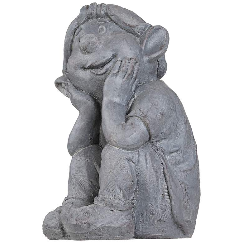 "Sitting Gnome 13"" High Gray Garden Accent more views"