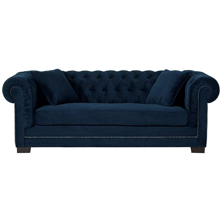 "Christine 86 1/4"" Wide Ink Blue Velvet Tufted Sofa more views"