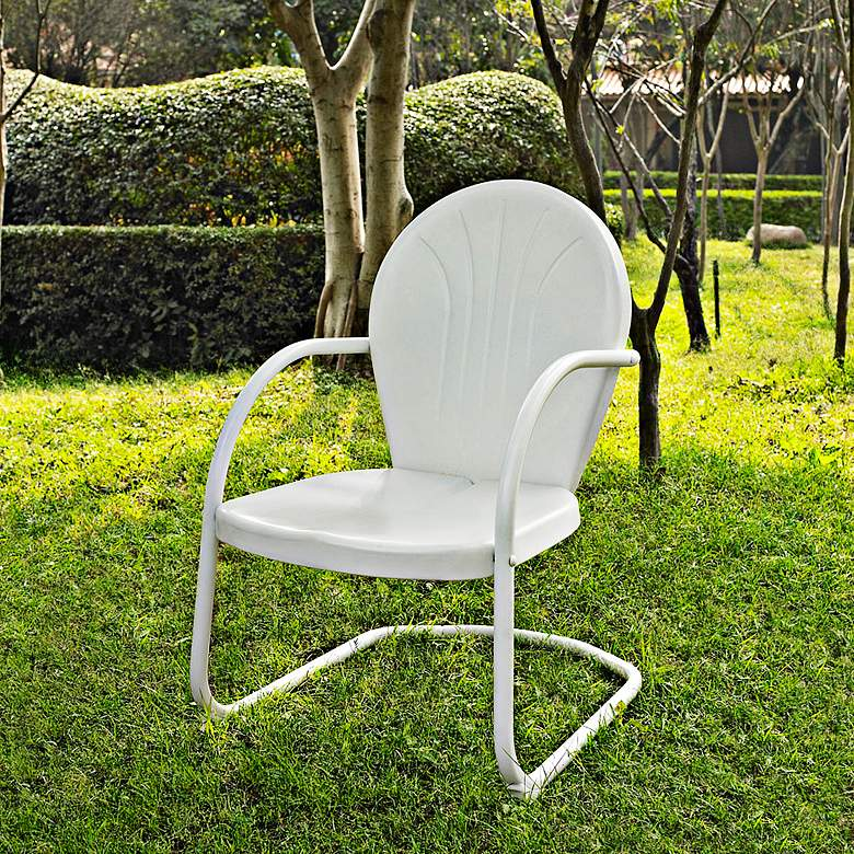 Griffith Nostalgic Crisp White Metal Outdoor Chair more views