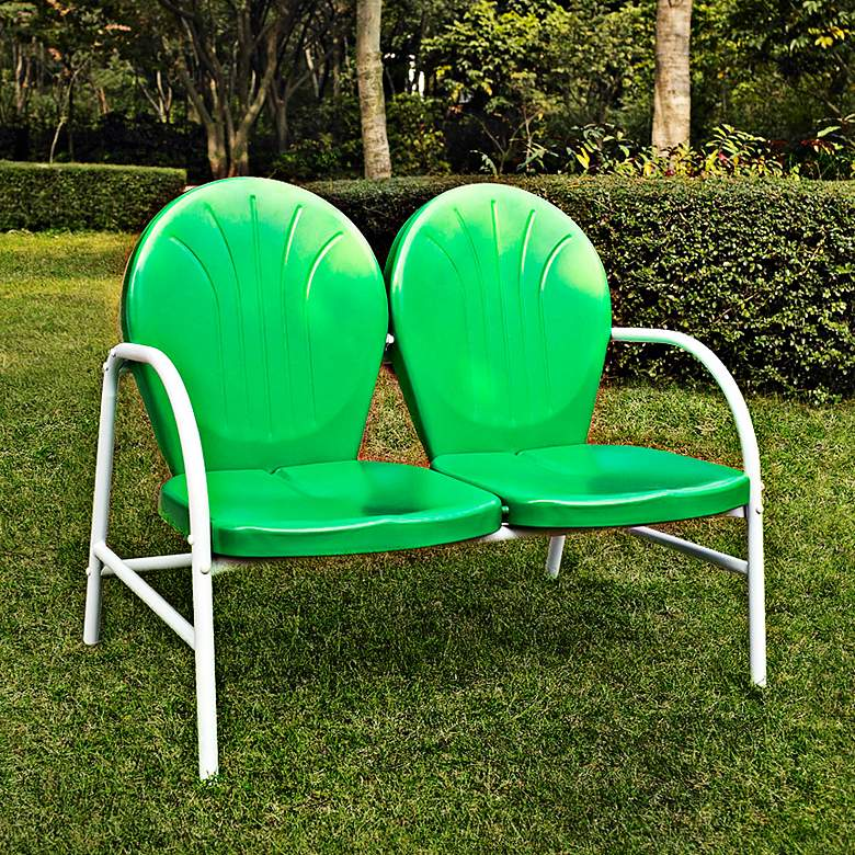 Griffith Nostalgic Grasshopper Green Outdoor Loveseat more views