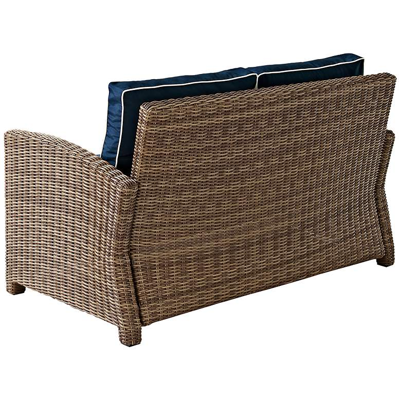 Bradenton Rattan Wicker Navy Cushion Outdoor Loveseat more views