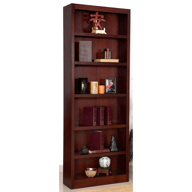 "Grundy 84"" High Cherry Finish Single-Wide 6-Shelf Bookcase more views"