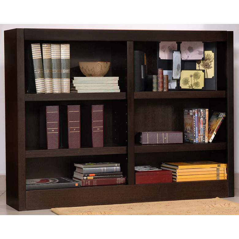 "Grundy 48"" Wide Espresso Double-Wide 6-Shelf Bookcase more views"