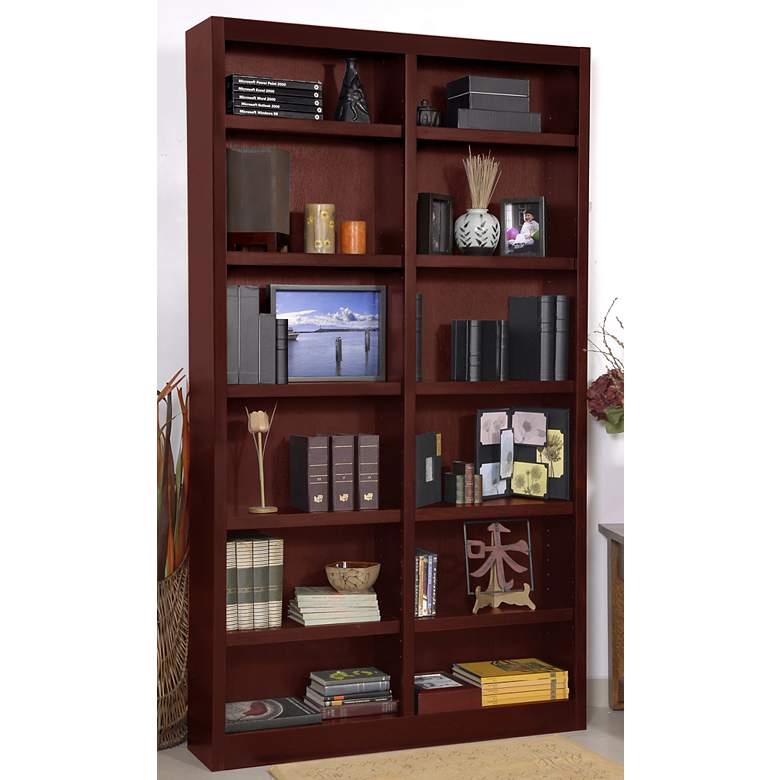 "Grundy 84"" High Cherry Double-Wide 12-Shelf Bookcase more views"