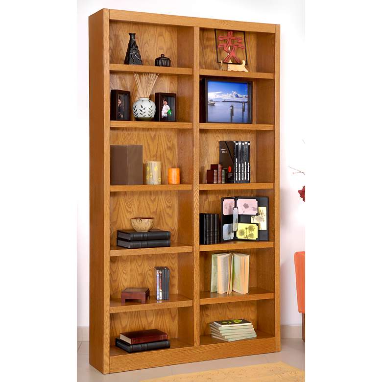 "Grundy 84"" High Oak Finish Double-Wide 12-Shelf Bookcase more views"