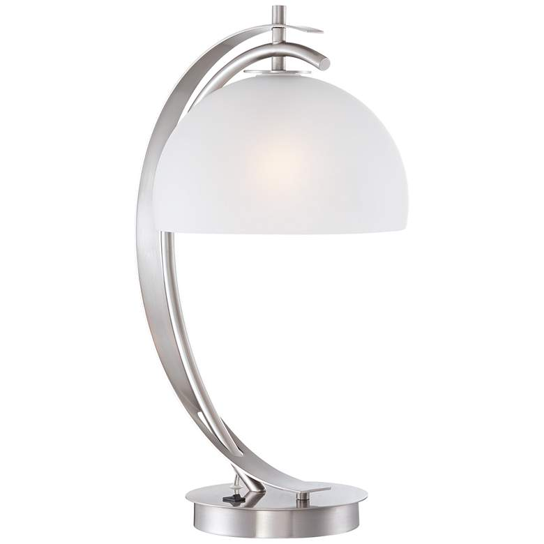 Possini Euro Calvin Glass Dome Table Lamp with USB Port more views