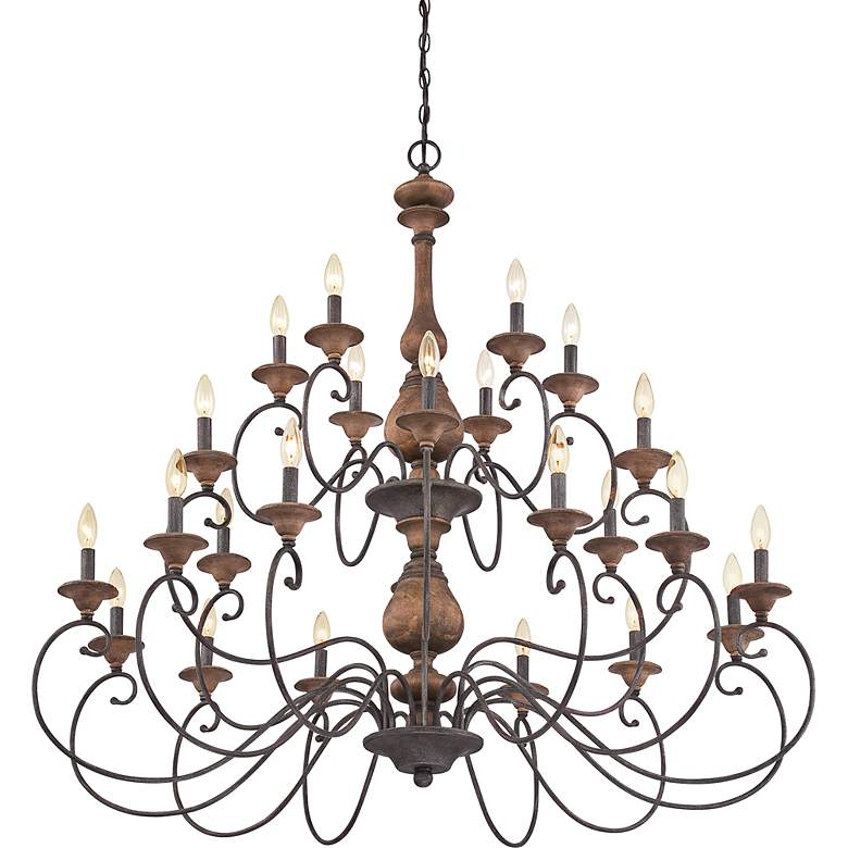 "Quoizel Auburn 48"" Wide 24-Light Rustic Black Chandelier more views"