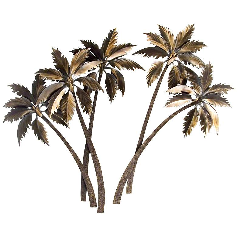 "Triple Palasari Palms 44"" High Metal Wall Art more views"