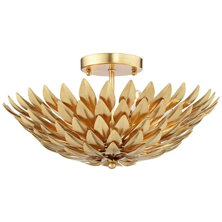 "Crystorama Broche 16"" Wide Antique Gold Ceiling Light more views"